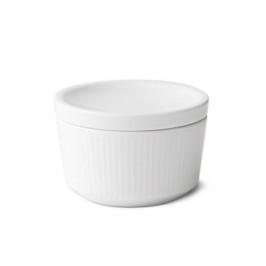 White Fluted Schale mit Deckel 20cl