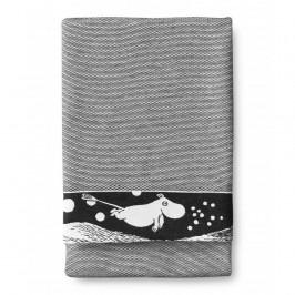 Wellenmumin Badetuch 70 x 150cm schwarz-weiß