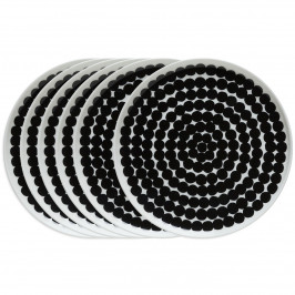 Räsymatto Teller 20cm, 6er Pack schwarz-weiß