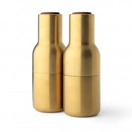 Bottle Grinder Gewürzmühle metall 2er Pack Gebürsteter Messing (Walnuss Deckel)