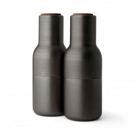 Bottle Grinder Gewürzmühle metall 2er Pack Bronzierter Messing (Walnuss Deckel)