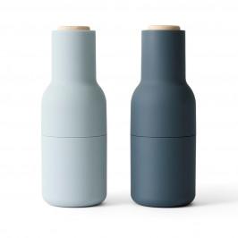 Bottle Grinder Gewürzmühle 2er Pack Blues (Buchen Deckel) (aktualisiertes Mahlwerk)