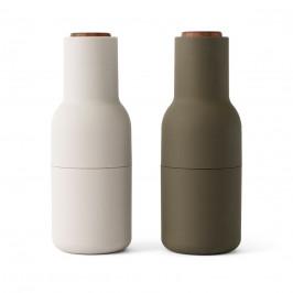 Bottle Grinder Gewürzmühle 2er Pack Hunting green-beige (Walnuss) (aktualisiertes Mahlwerk)