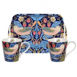 Strawberry Thief Tasse und Tablett Set blau