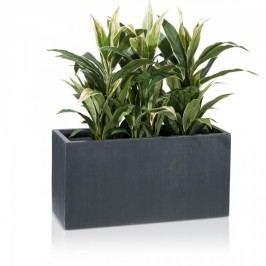 Pflanztrog rechteckig Visio 40 Fiberglas Blumentrog Maße: 80x30x40 cm (L/B/H), Farbe: anthrazit geriffelt