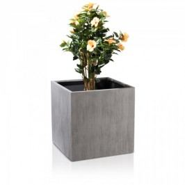 Großer Blumenkübel für draussen CUBO 60 grau geriffelt 60x60x60 cm