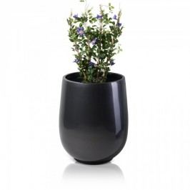 Blumenkübel groß CRASSO 89 Fiberglas grau metallic - runde Form von Decoras