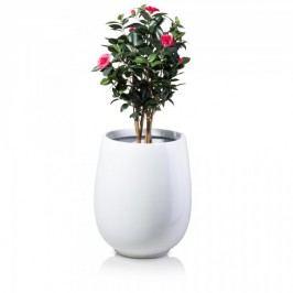 Pflanzkübel CRASSO 71 Fiberglas, Blumentopf weiß glänzend - runde Form