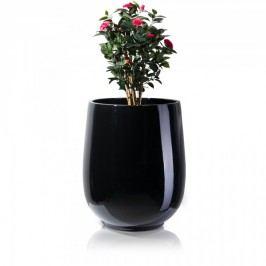 Riesiger Blumenkübel schwarz glänzend CRASSO 89 Fiberglas von Decoras