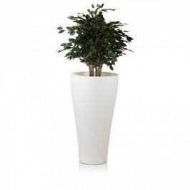 Pflanzkübel FLORA LUZ 110 Kunststoff Blumenkübel Pflanztopf Blumentopf beleuchtet, Maße: 50x50x110 cm (L/B/H), Farbe: weiß