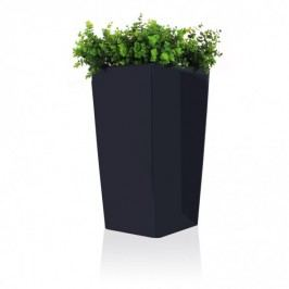 Pflanzkübel Cono Casa 75 mit Pflanzeinsatz Kunststoff Blumenkübel Pflanztopf Pflanzsäule Maße: 40x40x75 cm (L/B/H), Farbe: anthrazit