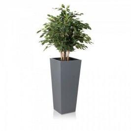 Pflanzkübel LAVIA 90 Fiberglas, Blumenkübel, Pflanztopf, Farbe: grau matt, 40x40x90 cm (L/B/H)