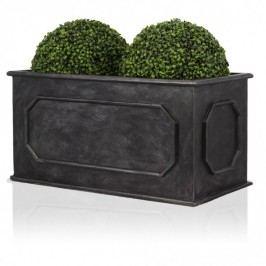 Blumentrog Fiberglas MURO 50 bleigrau Pflanztrog grau matt - Decoras Premiumqualität - Abmessungen: 100x50x50 cm (L/B/H)