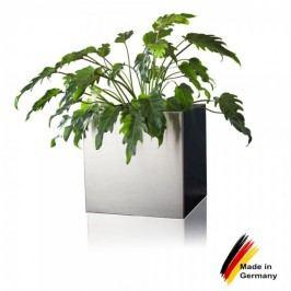 Quadratischer Edelstahl Blumenkübel CUBO 50 hochwertig Verarbeitung. Abmessungen 50x50x50 (L/B/H). Decoras Qualität