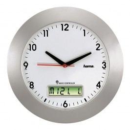 Hama Wanduhr, RCW500, Batteriebetrieb, Funk, rund, Ø: 30 cm, silber, Ziffernblatt mit Datum, weiß