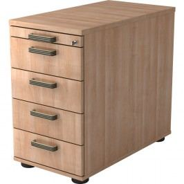 Hammerbacher Office Furniture Möbelprogramm Top Ergo Classic Rollcontainer, 4 Schübe + 1 Utensilienfach, Nußbaum