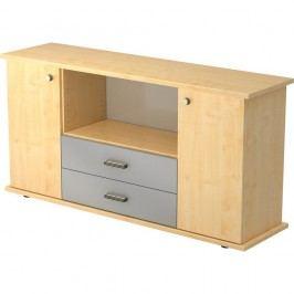 Hammerbacher Office Furniture Beistellschrank mit 2 Flügeltüren und 2 Schüben, 166x84x44,8cm, Ahorn