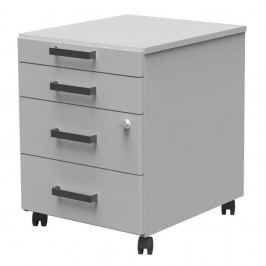 Wellemöbel Office Pro Rollcontainer, 4 Schübe, BxHxT: 42,8 x 55,3 x 49,9 cm, grau