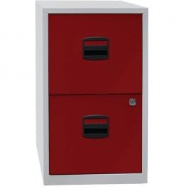 Bisley Hängeregistraturschubladenschrank mit 2 Schüben, einbahnig, Lichtgrau/Rot