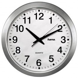 Hama Wanduhr CWA100, Quarz, Batteriebetrieb, manuelle Einstellungen, rund, Ø: 30,5 cm, Kunststoff, silber, Ziffernblatt, weiß