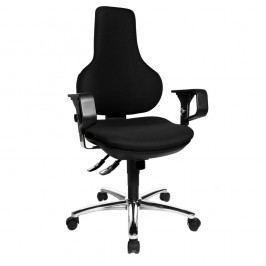 Topstar Bürodrehstuhl Ergo Point deluxe mit höhenverstellbaren Armlehnen mit Chrom, Farbe: schwarz