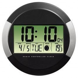 Hama Wanduhr PP-245, Batteriebetrieb, Funk, rund, Ø: 24,5 cm, schwarz/silber, digitale Anzeige, grün