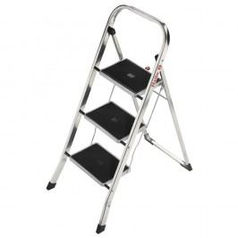 Hailo Klapptritt K30, Aluminium, 3 Stufen, Länge maximal: 2,46 m, Tragfähigkeit: 150 kg, silber
