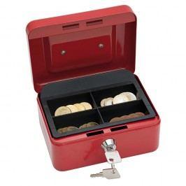 Wedo Geldkassette, 4 Fächer, Stahl, 152 x 115 x 80 mm, rot