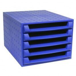 Exacompta Schubladenbox (Aufbewahrungsbox) The BOX, mit 5 offenen Schubladen, A4, 284 x 387 x 218 mm, kobaltblau
