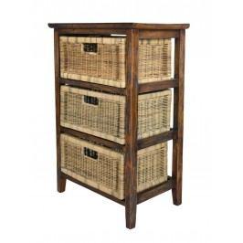 Rattan-Regal Holzregal mit 3 Rattanschubladen, cabana (34)