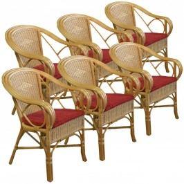 Rattanarmlehner Set 6x Rivera mit Sitzkissen, sierra