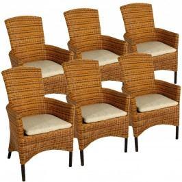 Rattanarmlehnerstuhl SET 6 Stück cabana mit Sitzkissen viva beige