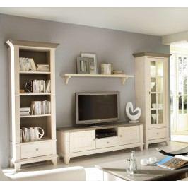 Wohnwand Provence 4-teilig Regal links TV-Schrank Wandbord Vitrine rechts, weiß lasiert Absetzung weiß