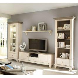 Wohnwand Provence 4-teilig Regal rechts TV-Schrank Wandbord Vitrine links, weiß lasiert Absetzung braun