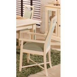 Pinienarmlehnstuhl Sitz Rücken gepolstert, Pinie weiß lackiert