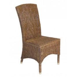 Rattan-Stuhl mit Messingfußkappen matt, crocco brown (32) ohne Sitzkissen