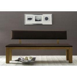 Sitzbank mit Rückenlehne B120140160180200 cm Colorado Wildeiche geölt, 180 cm Echtleder elfenbein