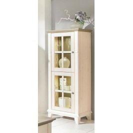 Highboard Anrichte Provence Glasfront 2 Türen links, weiß lasiert Absetzung braun ohne Beleuchtung