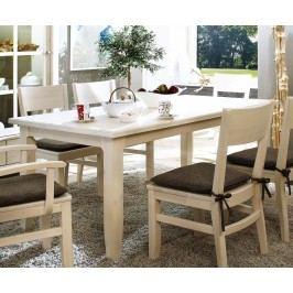 Esstisch Provence 140160180 x 85 cm, 180 x 85 cm weiß lasiert Absetzung braun mit 2x Ansteckplatten