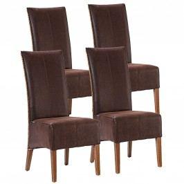 Rattanstuhl-SET Antonio 4 Stück Esszimmerstühle versch. Farben, cognac