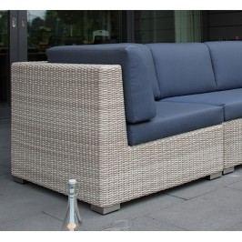 Adriatico Lounge Eckank B 92 x T 91 x H 71cm mit Sitz u. Rückenkissen, white kubu 5mm