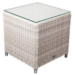 Adriatico Lounge Beistelltisch Royal Cube B 47 x T 47 x H 47 cm mit Glasplatte, white kubu 5mm