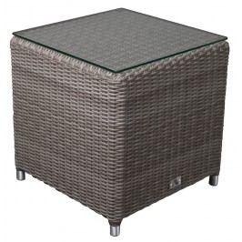 Adriatico Lounge Beistelltisch Royal Cube B 47 x T 47 x H 47 cm mit Glasplatte, taube grey 5mm