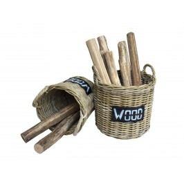 Feuerholzkorb im 2er Set mit Henkel aus handgeflochtenem Rattan kubu grey