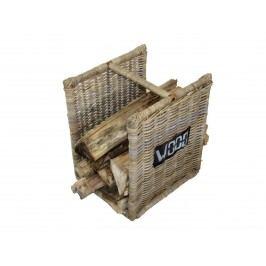 Feuerholzkorb im 2er Set mit Tragegriff aus Holz und Rattan kubu grey