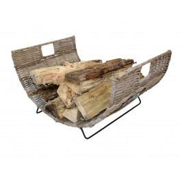 Feuerholzkorb mit Tragegriff im neuen Design aus Eisen und Rattan kubu grey