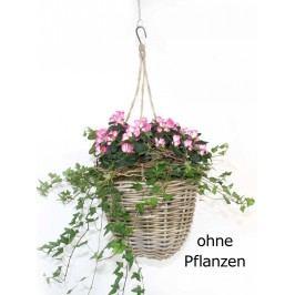 Pflanz-Ampel für Übertöpfe Ø 23 cm mit Kunststoffinlett aus Rattan kubu grey
