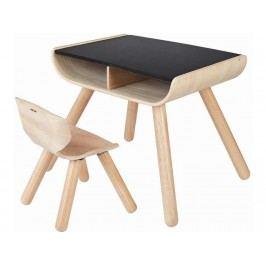 PLAN TOYS PlanHome Sitzgruppe Kindertisch inkl. Kinderstuhl Natur/Schwarz 4008703