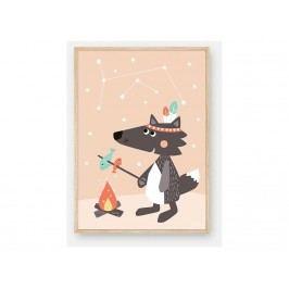JULICA Tipikids Design Poster Kleiner Wolf mit leucht sternen 50x70cm 100714