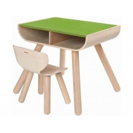 PLAN TOYS PlanHome Sitzgruppe Kindertisch inkl. Kinderstuhl Natur/Grün 4008700
